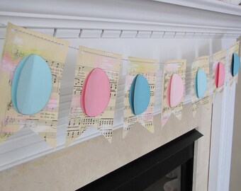 EASTER EGG vintage sheet music banner bunting garland decoration