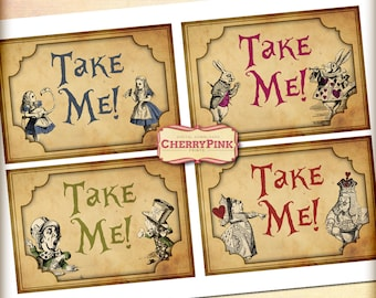 Alice in Wonderland decoration, Take Me Party Tags, party printables, Digital decorations with Mad Hatter, White Rabbit and Queen of Hearts