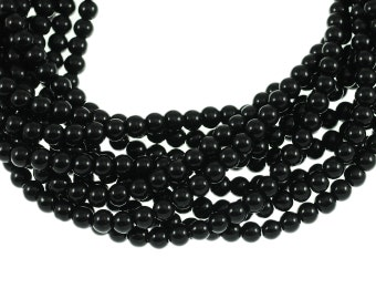 Opaque Black 6mm Round Glass Beads - Full 16 inch strand - Approximately 72 beads