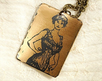 Selina Necklace - Etched Fused Glass on Bronze Jewelry