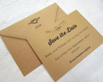 Tying the knot save the date cards with twine/ Tie the Knot Save our Date invite/ Kraft card Invitation/ barm / country/ shabby chic / jute