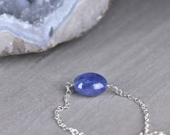 Tanzanite Pebble Necklace in Sterling Silver or 14k Gold Filled, December Birthstone, Purple Blue Gemstone Necklace, Smooth Tanzanite Bead