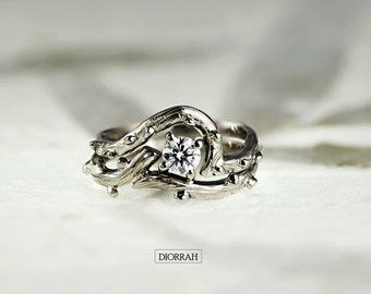 950 Platinum and 0.24 ct Diamond Twig Engagement and Wedding Ring, Handmade, Made to order