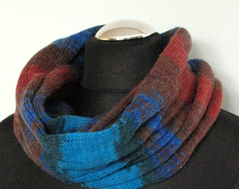 Blue Brown Striped Infinity Scarf Cowl Wrap Dark Blue Turquoise Green