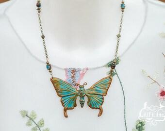 Butterfly Necklace Patina 7, 5cm