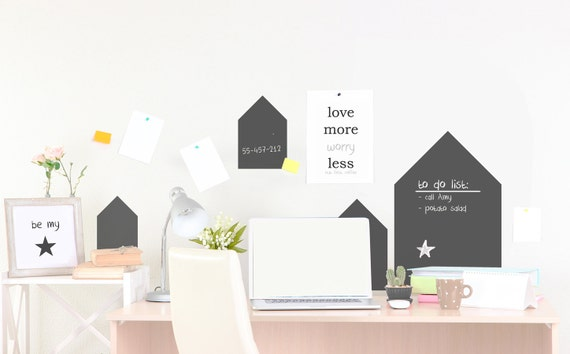 HOUSES chalkboard Wall Decals Sticker customized BLACKBOARD for writing Let's Note House Sticker TWEET home office kids room bedroom decal