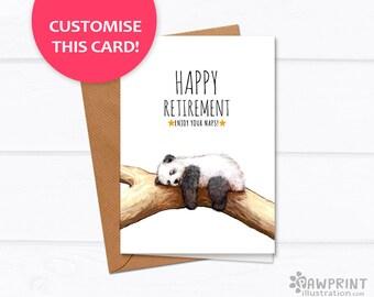 Panda Retirement Card - Cute Panda Bear Custom greeting card with custom text - teacher retirement cards - retirement teacher custom cards