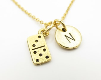 Domino Necklace, Domino Tile, Personalized Initial Necklace, Antique Gold Domino Tile, Stamped Initial Letter, Monogram Necklace Z280