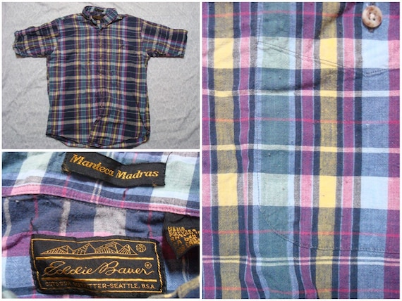 Vintage Retro Men's 80's Kenneth Stevens Shirt Plaid Blue Red Yellow Single Needle Tailoring Buttonup Long Sleeve Large xFRdA7dk7x