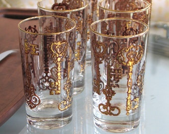 Vintage Hollywood Regency Royal Key Highball Glasses