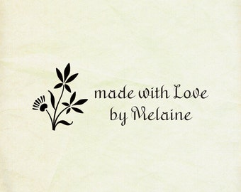 """customt  Rubber Stamp - natural- handmade by-made with love - cusotm rubber stamps-2.4"""" x1"""" -personalized stamp -"""
