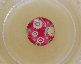 pink flowers glass cabochon