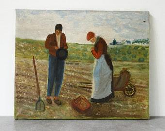 """Französische Kunstwerk, Öl auf Leinwand 18 """"x 14,5""""... Bauern ernten... nicht signiert"""
