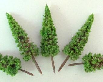 5 Artificial Mini fir-trees for miniature decoration, landscapes, h. 7 cm long