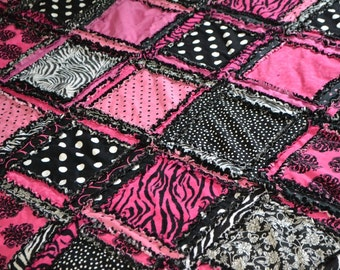 Zebra Bedding - Twin / Full / Queen / King Quilt- Dorm Bedding Twin Rag Quilts - Paris Bedding Twin Bed Quilt- Boho Bedding Sets Bed Spread