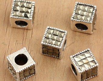 925 sterling silver marcasite beads, antique silver beads, marcasite beads bracelet diy, marcasite with silver, cube beads,