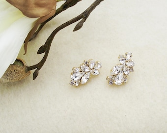Wedding Earrings, Crystal Gold Earrings, Gold Drop Earrings, Crystal Wedding Jewelry, Modern Earrings, Stud Crystal Earring, CZ Earrings