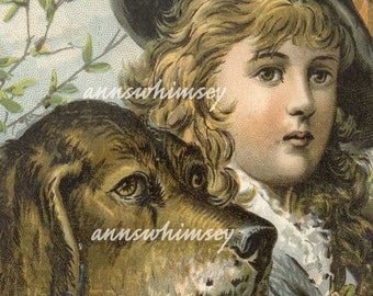 Girl's Best Friend, Victorian Girl and Dog Art Print, RESTORED Antique Print  #87