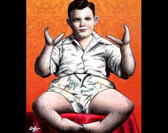 "Print 8x10"" - Lobster Boy - Grady Stiles Ectrodactyly Side Show Freak Show Sideshow Freakshow Pop Art Circus Dark Art Murder Vintage"