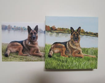 Pet Portrait Mini Original Oil Painting Hand Painted 2.5 in x 2.5 in with Free Easel Made to Order German Shepherd by Pigatopia