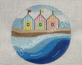 "Hand Painted Seaside 4"" ornament Needlepoint Canvas by MyPinkSugarLife"