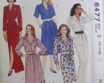 Easy McCall's 6477 Sewing Pattern - Button Front Shirt Dress and Jumpsuit - Sizes 12-14-16, Bust 34 - 38, Uncut