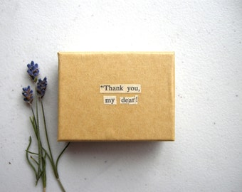 Thank You My Dear Small Kraft Box - Vintage Book Page Art / Bookish Home Decor, Jane Eyre Literary Trinket Holder, Decoupage Gift Box