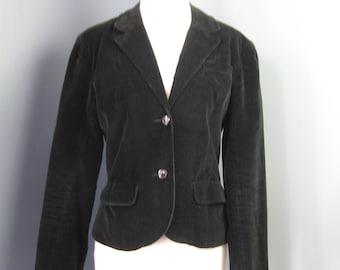 Black Velvet Blazer / Vtg 70s / Sergio Valente Fitted Black Velvet Blazer / Cropped jacket / Size XS
