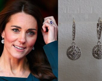 Kate Middleton Duchess of Cambridge Inspired Replikate Round Cluster Clear Crystal Silver Tone Earrings