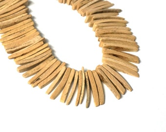 Coconut Wood stick beads, top drilled natural light wood coconut palm spikes, full strand (575R)
