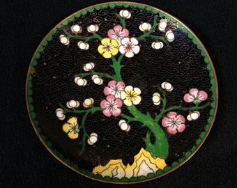 Vintage Chinese Cloisonne Trinket Dish Black with Cherry Tree