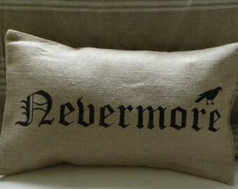 Halloween pillow cover crow raven edgar allan poe nevermore burlap (hessian) pillow cover