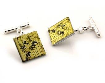 Sterling Silver Cufflinks - Japanese Bamboo Artwork from Linocut