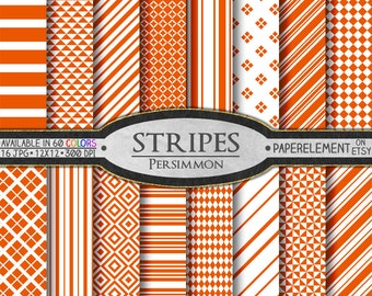 Persimmon Digital Paper: Persimmon Striped Printable Backdrops with Rich, Deep Orange Diamonds - Persimmon Scrapbook Paper Download