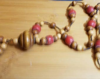 wooden bead necklace with pendant