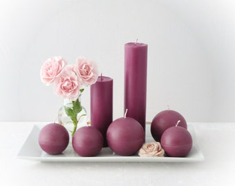 Marsala candles, ecofriendly candles, a set of minimalist candles, solid colors candles, scented soy candles.
