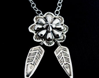 Concho Necklace, Sterling SIlver Concha Necklace, Southwestern Style, Native American Design, Western Cowgirl Jewelry