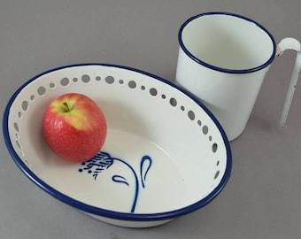 German Enamelware, Enamel bowl, Enamel pot, Milk Pot, Vintage Enamelware, European Enamelware, Vintage Kitchen Storage, Rustic Farmhouse