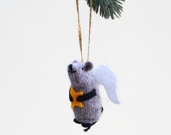 Angel Mouse, Christmas Mouse, Christmas ornament, hanging mouse, mouse with candle, waldorf mouse, mouse ornament,