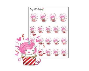 Planner Stickers Valentine Unicorn in a Gift