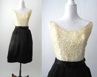 Vintage 1950 Dress, Retro 50s Dress, Retro Cocktail Dress, Black & White Dress, Evening Dress, Vintage Wedding Dress, Vintage Cocktail Dress