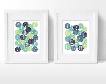 Alphabet and Numbers Art Print Set, ABC and Counting Artwork, Boys Modern Nursery Decor