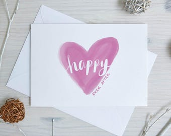 Wedding Day Card   Wedding Congratulations Card   'Happy Ever After'   Engagement   Couple    Newlyweds   Calligraphy, Brush Lettering