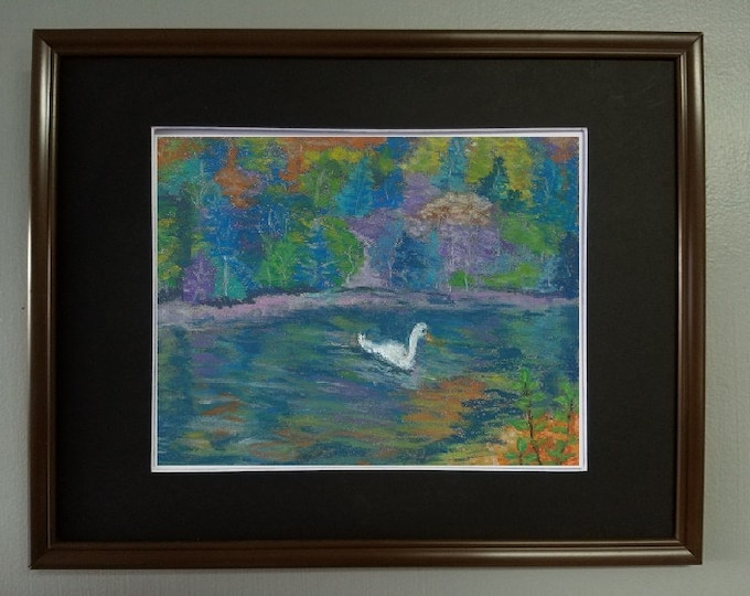 "8x10 Original Pastel Painting, Reflections with Swan, ""Colorful Waters"""