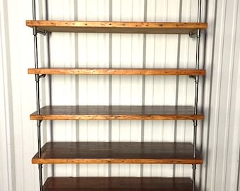 wooden bookcase furniture storage shelves shelving unit. Reclaimed Wood Pipe Shelving - Antique Rustic Loft Style Bookcase Storage Shelves Wooden Furniture Unit
