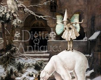 Vintage Fairyland Christmas Large Printable Collage Digital Download