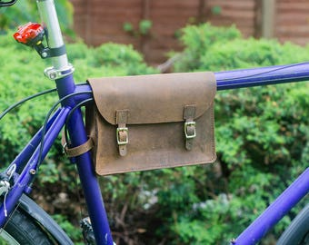 Frame Bag in VINTAGE BROWN Leather Bike Bicycle Handcrafted Leather