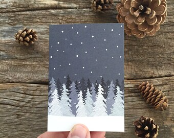 holiday gift enclosure cards / mini cards / winter trees