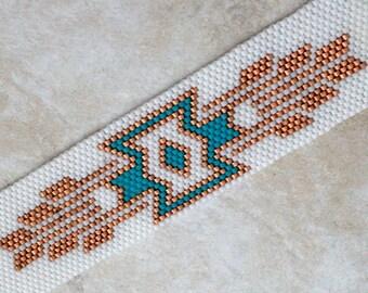 Bracelet en perles - Bracelet en perles Peyote sud-ouest - Peyote perlés sud-ouest Design en cuivre blanc, Torquoise,