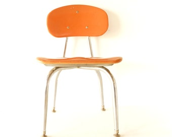 Vintage School Chair in Chrome and Orange Composite by C.F. Church Corex (c.1950s) N3 - Child's Bedroom Decor, Plant Stand, Table